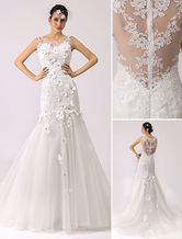 3d Floral Trumpet Wedding Dress with Illusion Neckline and Sheer Back Milanoo