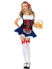 Anime Costumes AF-S2-506443 Halloween Blue Lace-up Beer Girl Costume