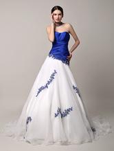 Синий свадебное платье бисером кружева Милая-Line часовня поезд тюль свадебное платье без спинки платье принцессы Milanoo