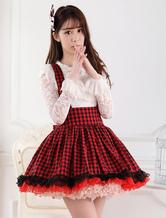Lolitashow Red Black Gingham Lolita Skirt Salopette Lace Lining