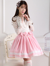 Lolitashow Sweet Pink Short Lolita Skirt with Whtie Trim Bows Pears