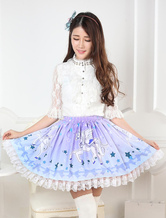 Lolitashow Blue Unicorn Print Lace Lolita Skirt