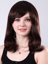 Anime Costumes AF-S2-509219 Chestnut Brown Medium Curls at Ends Medium Wig