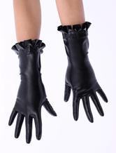 Anime Costumes AF-S2-512731 Black Ruffled Trim Latex Gloves