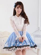 Lolitashow Blue Short Lolita Skirt Lace Trim Polyester Print