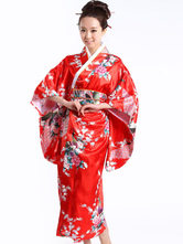 Disfraces de kimono de pavo real rojo para mujer