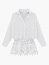 Embroidered Cotton Blouse With Lace