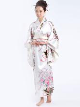 Anime Costumes AF-S2-513735 White Printed Women's Kimono Costumes