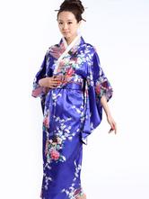Anime Costumes AF-S2-513717 Royal Blue Peacock Print Women's Kimono Costumes