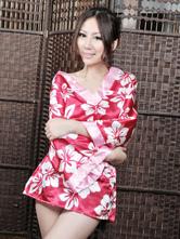 Anime Costumes AF-S2-516181 Halloween Geisha Costume Red Indoor Synthetic Beautiful Sexy Kimono