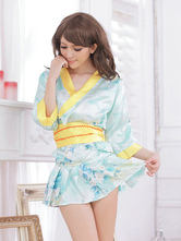 Anime Costumes AF-S2-516189 Halloween Geisha Costume Blue Indoor Synthetic Quality Sexy Kimono
