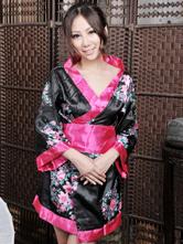 Anime Costumes AF-S2-516187 Halloween Geisha Costume Black Indoor Synthetic Quality Sexy Kimono