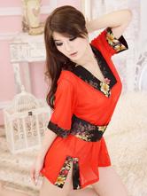 Anime Costumes AF-S2-516171 Halloween Geisha Costume Beautiful Red Synthetic Sexy Kimono