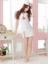 Anime Costumes AF-S2-516147 Halloween White Split Synthetic Sexy Nurse Costume
