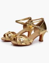 Zapatos de baile Correa brillo latino zapatos de puntera abierta del tobillo Y9oM4p5