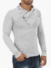 T-shirt slim unicolore en coton avec col asymétrique