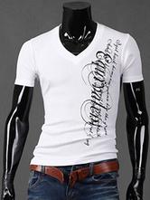 T-shirt hommes 2021 Manches courtes T-shirt Coton V Imprimé Lettres cou T-shirt Hommes Casual