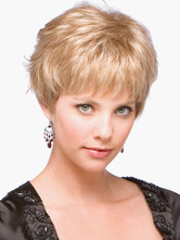Anime Costumes AF-S2-520005 Contemporary Gold 8 inches Pixies and Boycuts Human Hair Wigs