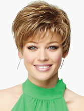 Anime Costumes AF-S2-520033 Chic Light Brown 8 inches Pixies and Boycuts Human Hair Wigs