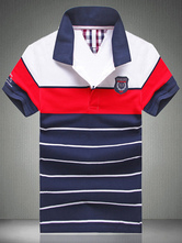 Stripe Cotton Short Sleeves Polo Shirt
