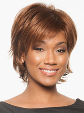 Anime Costumes AF-S2-520009 Popular Brown 8 inches Pixies and Boycuts Human Hair Wigs