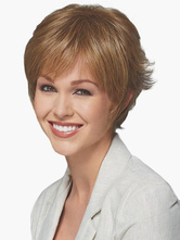 Anime Costumes AF-S2-520015 Contemporary Brown 8 inches Pixies and Boycuts Human Hair Wigs