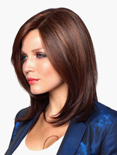 Anime Costumes AF-S2-520681 Fashion Brown Side Parting Urban Heat-resistant Fiber Medium Wig