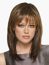 Anime Costumes AF-S2-520693 Brown Medium Straight Heat-resistant Fiber Natural Medium Wig