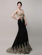 Splendida nero sposa abito abito da sera Applique Chiffon dorato sirena illusione corpetto Strascico