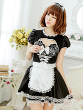 Anime Costumes AF-S2-524717 Halloween Quality Black Synthetic French Maid Costume