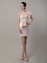Sheath/Column One Shoulder Peplum Satin Short/Mini Satin Bridesmaid Dress