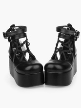 Lolitashow Black Lolita High Platform Shoes Ankle Straps PU Leather