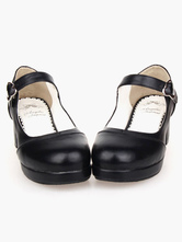 Lolitashow Matte Black Lolita Square Heels Shoes Mary Jane Shoes Heart Shape Buckle