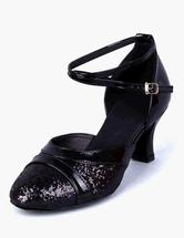 Zapatos baile latino Moda correa de tobillo ronda Toe PU cuero zapatos de salón bQtIoTuE