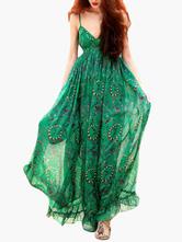 Green Women's Dress Sleeveless V-Neck Milk Silk Printed  Maxi Dress