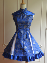 Classic Blue Qi Lolita Dress Sleevesless Lace Up Printed Satin