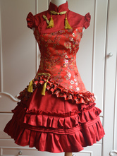 Classic Red Satin Qi Lolita Dress Sleevesless Plum Blossom Printed Ruffles