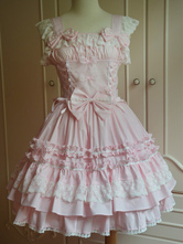 Lolitashow Sweet Light Pink Cotton Lolita Jumper Skirt Lace Trim Lace Up Ruffles