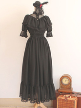 Tailor Made Only Gothic Black Cotton Knotted Lolita Dress
