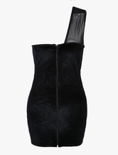 Black One Shoulder Sexy Velvet Women's Corset Dress