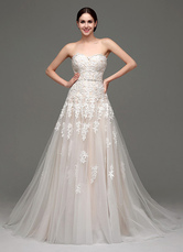 Wedding Dresses Champagne Tulle Strapless Sweatheart Lace Sash Bridal Gown