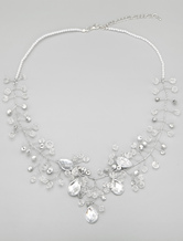 Handmade Pearl And Rhinestone Necklace For Bride