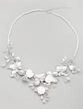Pérola artesanal e colar Floral para noiva