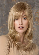 Anime Costumes AF-S2-533591 20-Inch Blonde Side Parting Curly Ends Chic Women's Medium Wig In Heat Resistant Fiber