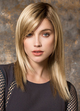 Anime Costumes AF-S2-533557 20-Inch Blonde Classic Women's Straight Medium Layered Fiber Wig In Side Parting
