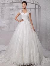 Brautkleider Prinzessin Elfenbeinfarbe       Herz-Ausschnitt Brautkleider Tüll mit Kapelle-Schleppe ärmellos und Reißverschluss Prom- trägerlos