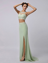 Sage Green Chiffon Prom Dress with Crop Top and Front Slit Milanoo