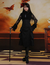 Lolitashow Classic Black Long Lolita Skirt High Waist Layers