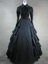 Faschingskostüm Viktorianische schwarzen langen Ärmeln Rüschen Gothic Kleid