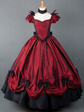 Lolitashow Red Short Sleeves Pleated Victorian Dress Costume